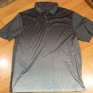 Mens Ben Hogan Perf Golf Polo Shirt Gray StripedXL